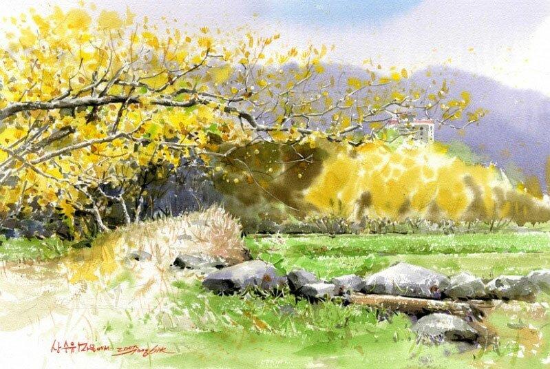 Рисунки акварелью Shin Jong Siк 1
