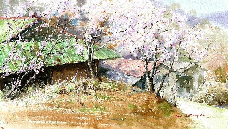 Рисунки акварелью Shin Jong Siк 11