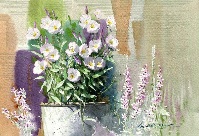 Рисунки акварелью Shin Jong Siк 6